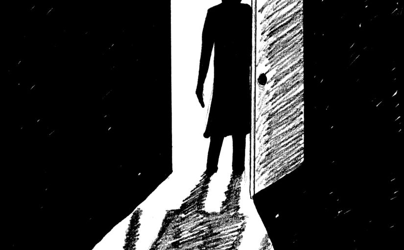 DO you hear what I hear podcast image. Man at door.