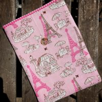 Padded cotton book sleeve - pink Paris | Memoria Podcast