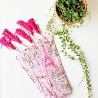 pink paris cotton padded bookmark
